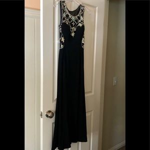 Betsy & Adam Sea Illusion Beaded Black Gown Size 4